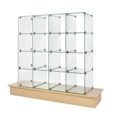 """10"""" x 16"""" Glass Cubbies with Open Backs on Maple Base"""