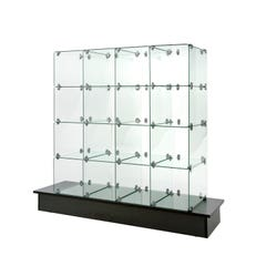 """10"""" x 16"""" Glass cubbies with Closed Backs on Black Base"""