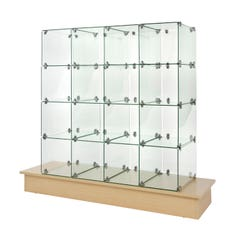 """10"""" x 16"""" Glass Cubbies with Closed Backs on Maple Base"""