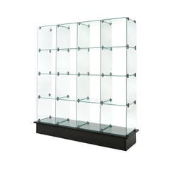 """12"""" x 12"""" Glass Cubbies with Open Backs on Black Base"""