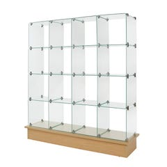 """12"""" x 12"""" Glass Cubbies with Open Backs on Maple Base"""