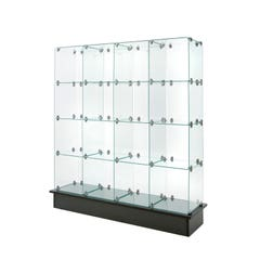 """12"""" x 12"""" Glass Cubbies with Closed Backs on Black Base"""