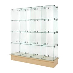 """12"""" x 12"""" Glass Cubbies with Closed Backs on Maple Base"""