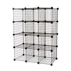 "3 x 4 Wire Cubby Unit w/ 10"" x 16"" grid panels - Black"