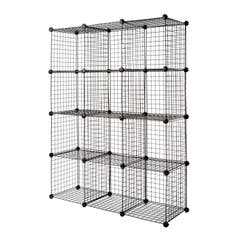 "3 x 4 Wire Cubby Unit w/ 14"" x 14"" grid panels - Black"