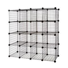 "4 x 4 Wire Cubby Unit w/ 10"" x 16"" grid panels - Black"