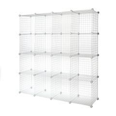"""4 x 4 Wire Cubby Unit w/ 14"""" x 14"""" grid panels - White"""