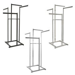 4-Way High Capacity Garment Rack with Straight Arms - Rectangular Tubing Uprights