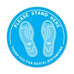"Social Distancing Floor Decals, 12"" Dia. - ""Please Stand Here"""