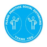 "Social Distancing Floor Decals, 12"" Dia. - ""Please Practice Social Distancing"""