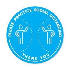 """Social Distancing Floor Decals, 12"""" Dia. - """"Please Practice Social Distancing"""""""